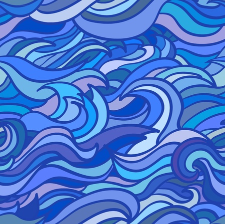 ocean storm: Waves seamless vestor pattern in blue colour Illustration