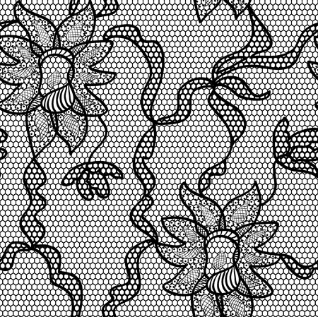 lace pattern: Black lace vector fabric seamless pattern Illustration