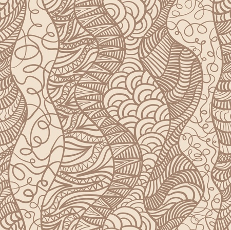 Hand drawn seamless pattern with various elements, lines, waves Stock Vector - 12928232