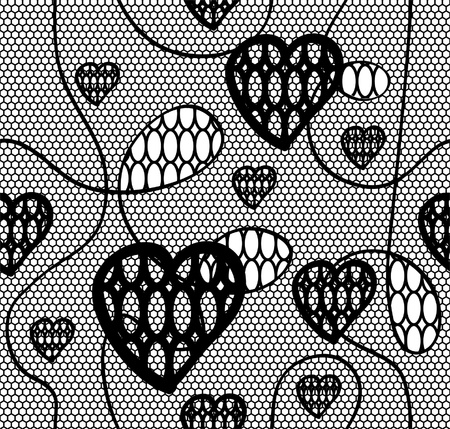 Black lace fabric seamless  pattern with hearts Stock Vector - 12928230