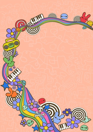 Hand drawn funny frame with rainbow, flowers and different elements Vector
