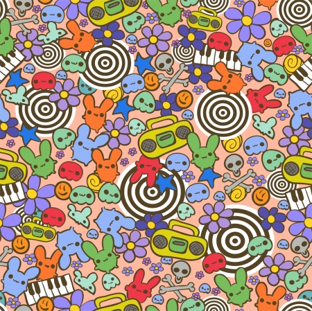 funky music: Hand drawn funny seamless pattern with cute little rabbits, flowers and other various elements Illustration