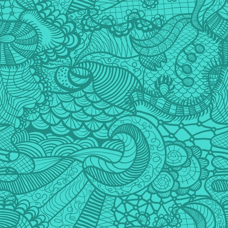 Hand drawn seamless pattern with various elements, flowers, waves Vector