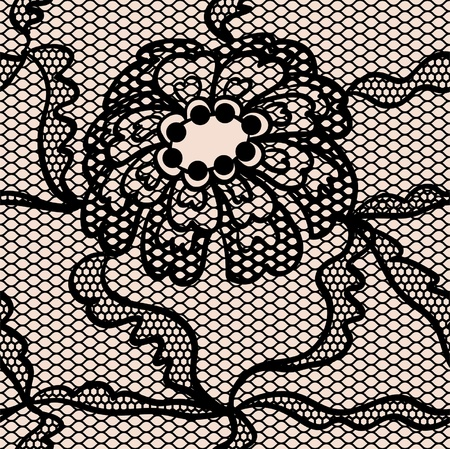 handwork: Black lace fabric seamless  pattern with flowers