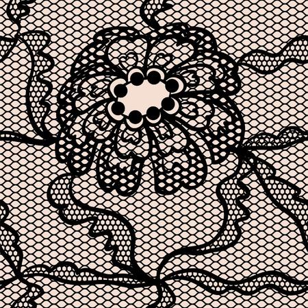 trabajo manual: Encaje negro patrón de la tela transparente con flores Vectores