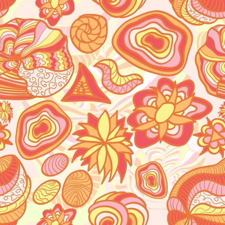 Hand drawn funny orange seamless pattern with different elements Vector
