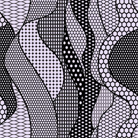 trabajo manual: Encaje negro patrón de la tela transparente con líneas y ondas Vectores