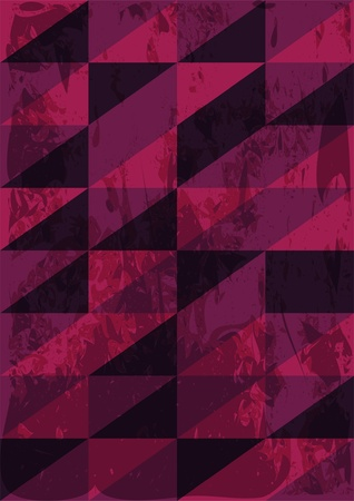 Triangles retro background with grunge texture in dark colors Vector