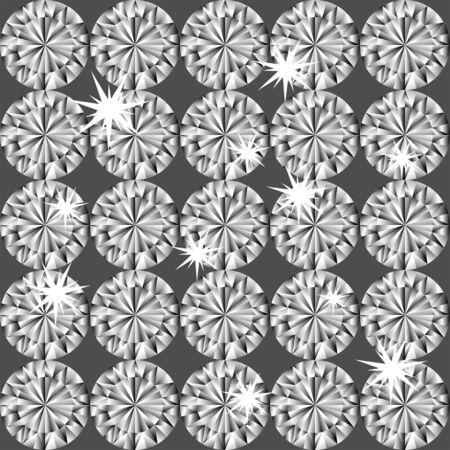 style wealth: Diamond seamless pattern  Colourful shining diamonds on black background Illustration