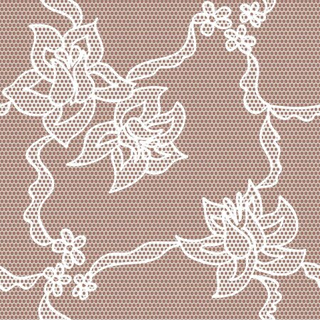 Roses lace lovely white seamless pattern Vector
