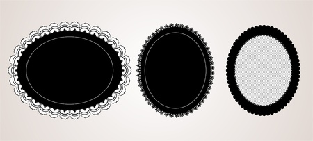 lace frame: Black elegant doily Illustration