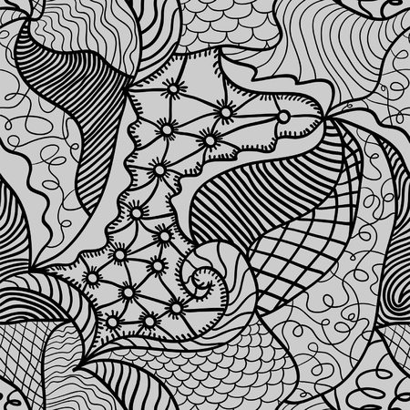 Hand drawn seamless pattern with various elements, waves, leafes Illustration
