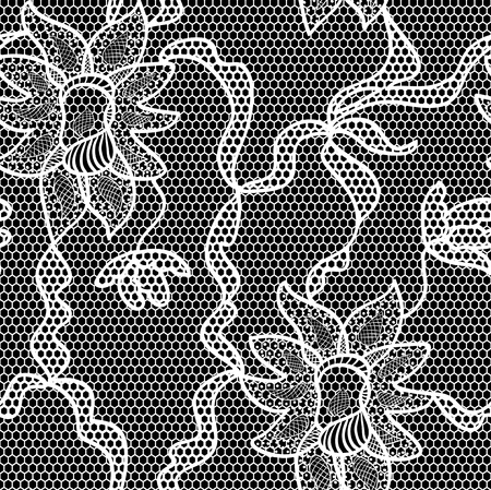 black lace: Black lace vector fabric seamless pattern Illustration