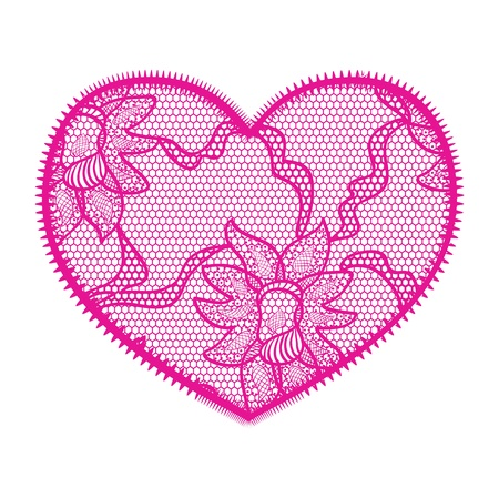 Lace heart pink applique Vector