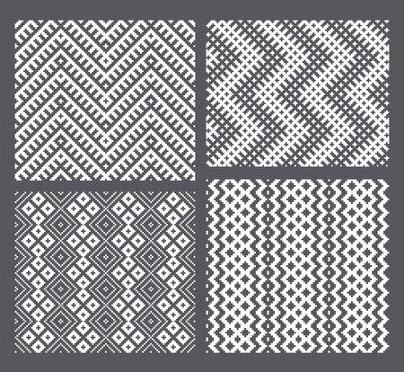 Set of 4 monochrome elegant seamless patterns Vector