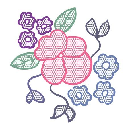 Lace flower applique Stock Vector - 13910256