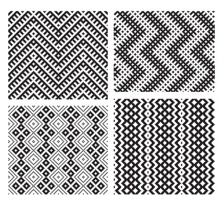 Set of 4 monochrome elegant seamless patterns Vector