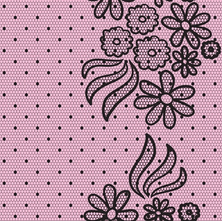 Black elegant dotted lace seamless  pattern Stock Vector - 15095520