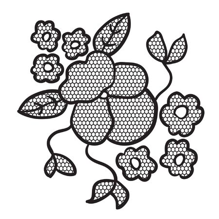 applique flower: Black lace flower  applique. May be used as decoration. Illustration