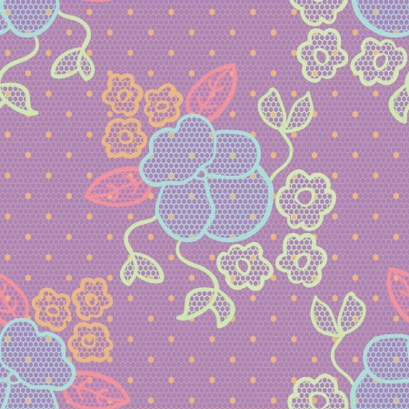 Violet lace  fabric seamless pattern with wild pansy Vector