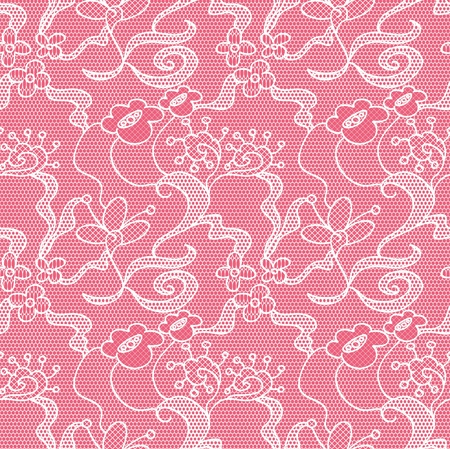 Lace seamless pattern with flowers on pink background Stock Vector - 15095529