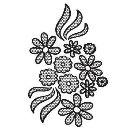 tatting: Black lace flower  applique. May be used as decoration. Illustration