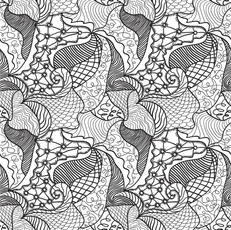 Hand drawn seamless pattern with various elements, flowers, waves Stock Vector - 15095528