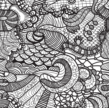 Hand drawn seamless pattern with various elements, flowers, waves Illustration
