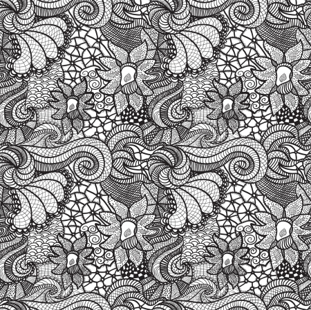 lacy: Hand drawn seamless pattern with various elements, flowers, waves Illustration