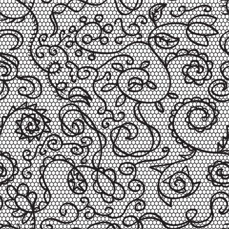 black lace: Black lace  fabric seamless  pattern with flowers
