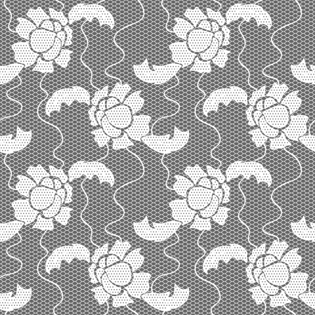 White lace  fabric seamless  pattern with flowers Vector