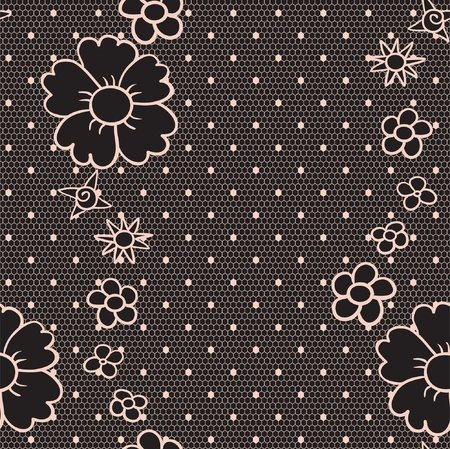 Black elegant dotted lace seamless  pattern Vector
