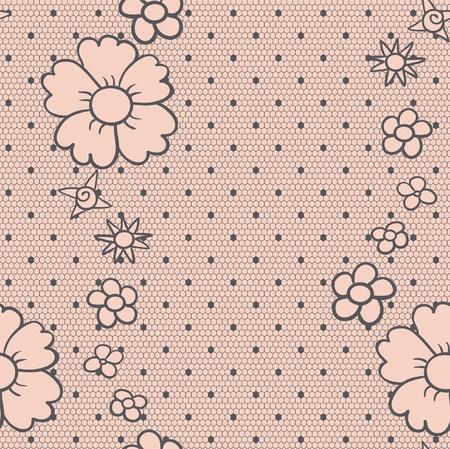 monochroom: Gentle elegante gestippelde kant naadloze patroon Stock Illustratie