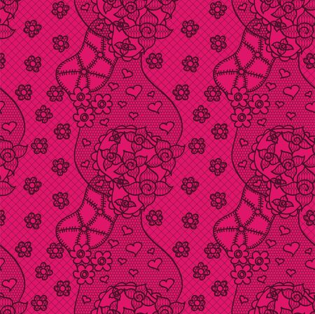 Lace seamless pattern with flowers on pink background Stock Vector - 15095888