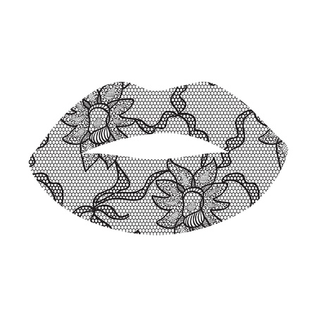 tatting: Black lacy lips applique  May be used as decoration