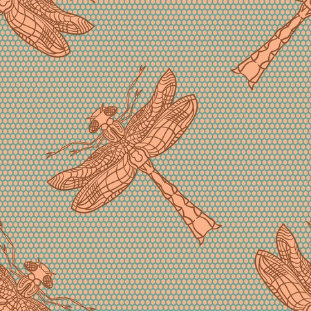 Dragonfly  illustration  Dragonfly seamless pattern Vector
