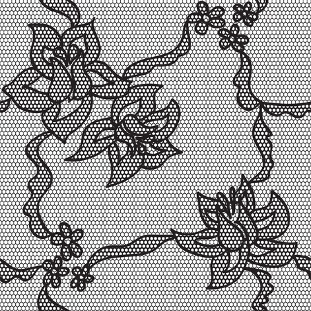 lacy: Black lace  fabric seamless  pattern with roses Illustration