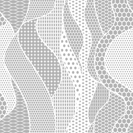 needlecraft: White lace  fabric seamless pattern with lines and waves
