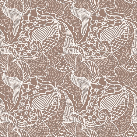 isolines: Hand drawn seamless pattern with various elements, waves, leafes Illustration