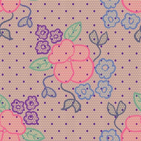 handwork: Violet lace  fabric seamless pattern with wild pansy