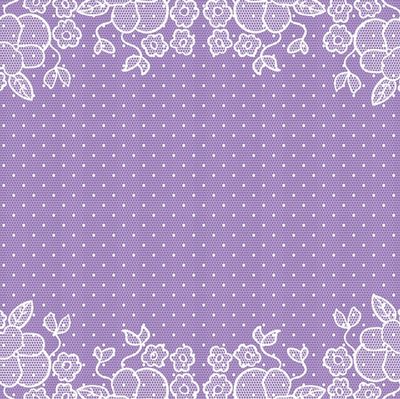 Invitation wedding card. White lace on violet background. Vector