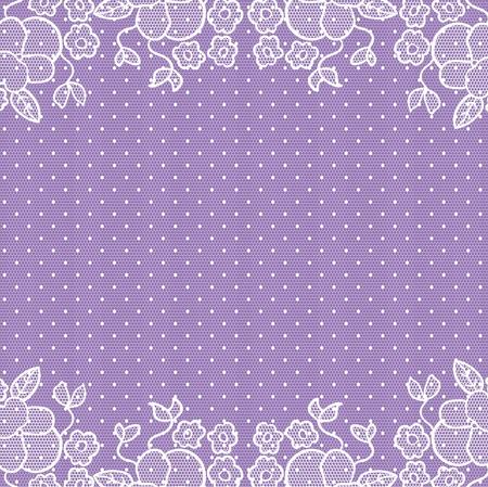 Uitnodiging trouwkaart. Witte kant op violette achtergrond.