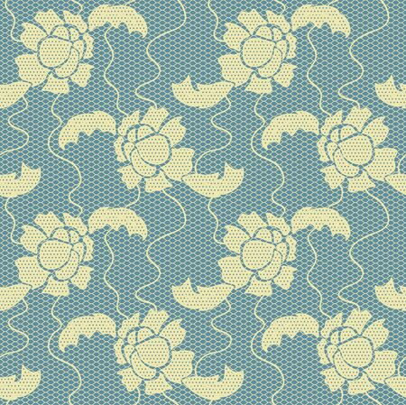 Gentla lace  fabric seamless  pattern with flowers Vector