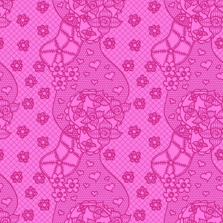 Lace seamless pattern with flowers on pink background Stock Vector - 15138049