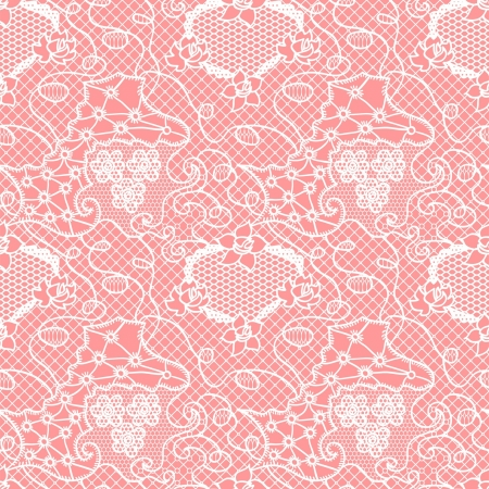 Lace seamless pattern with flowers on pink background Vector