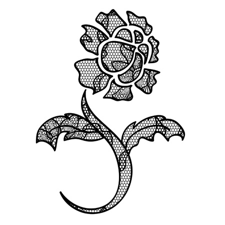 applique flower: Lace flower black  applique. May be used as decoration. Illustration