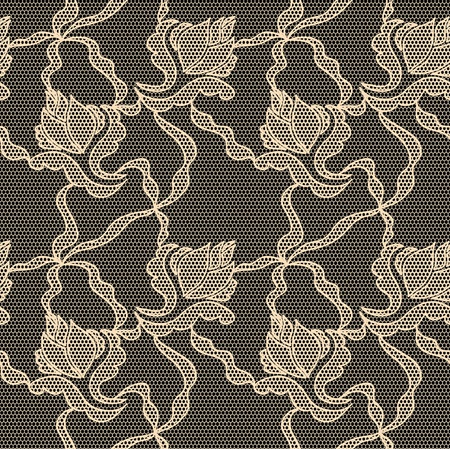 Black lace  fabric seamless  pattern with orchids Vector