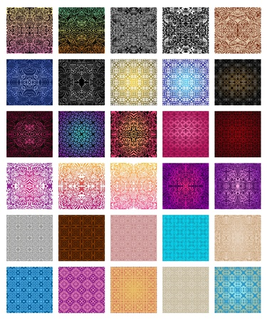 Big collection of 30  seamless patterns in different colours Stock Vector - 15138257
