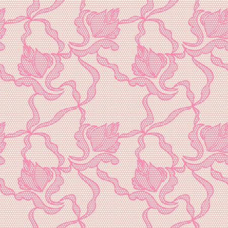 Lace seamless pattern with flowers on pink background Stock Vector - 15096141