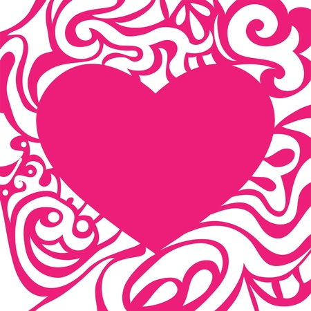 Pink romantic invitation valentine card with curly frame